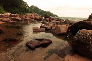beach landscape sea coast rocks
