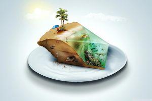 beach plates shipwreck artwork simple background cake fantasy art palm trees