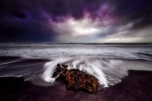 beach sea landscape overcast long exposure