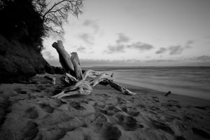 beach sea monochrome