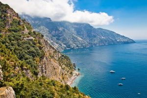 beach yachts nature landscape italy blue house clouds coast cliff water sea mountains shrubs summer