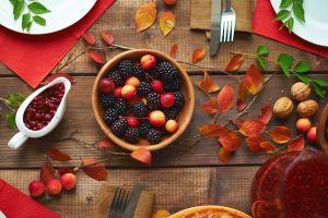 berries knife leaves fork fruit still life