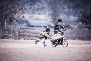 bicycle children nature