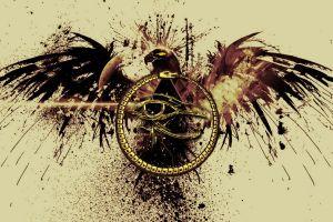 birds paint splatter ouroboros eye of horus