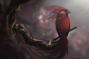 birds red digital art