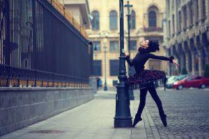 black clothing profile women outdoors urban black hair black dress dancer ballerina women dancing