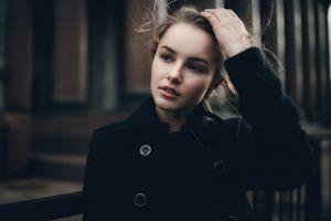 black coat looking away coats women julia tavrina face blonde portrait