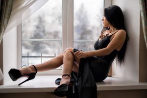 black dress dress long hair window legs black hair women marina shimkovich anton pechkurov model looking away high heels