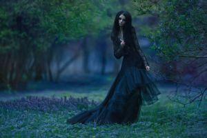 black dress women outdoors model