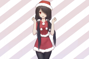 black hair date a live anime girls pantyhose santa hats tokisaki kurumi christmas anime long hair