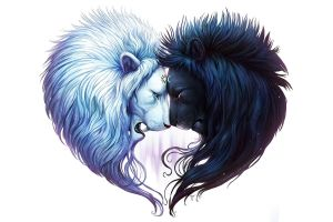 black hair digital art heart simple background lion cyan black white hair white background
