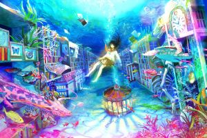 black hair giraffes fish books skirt carousel fuji choko underwater blue eyes original characters turtle