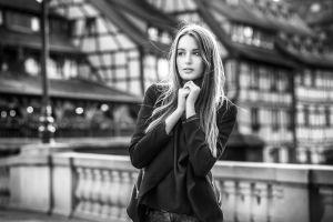 black jackets portrait hands 500px urban looking away lods franck monochrome model photography women women outdoors face