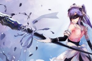 blindfold original characters fantasy art spear twintails weapon anime girls elbow gloves