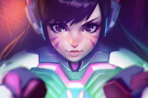 blizzard entertainment hana song overwatch d.va (overwatch) video games anime anime girls fantasy art