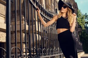 blonde fashion black clothing sunglasses women