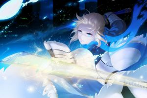 blonde fate series artwork anime girls anime blue eyes saber