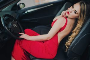 blonde looking away women with cars lipstick model sitting women red dress car painted nails