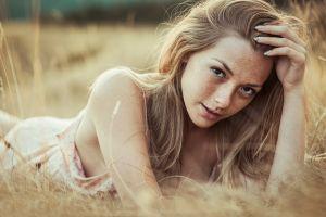 blonde olga kobzar women freckles