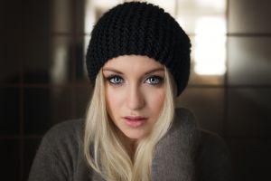 blonde portrait face lips women blue eyes