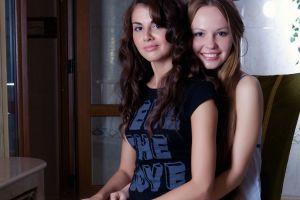 blonde virginia sun astrud rylsky women indoors two women smiling brunette