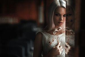 blonde women 500px masha sidorova georgy chernyadyev model reflection flowers