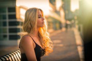 blonde women portrait face looking away