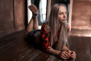 blonde wooden surface women looking away on the floor legs up stepan gladkov jean shorts