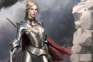 blood fantasy girl artwork warrior armored fantasy art blonde