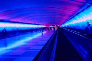 blue airport hallway photography
