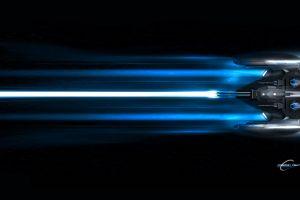 blue black background spaceship