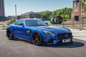 blue cars mercedes-benz amg gt prior design car