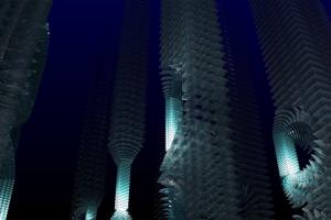 blue cgi skyscraper abstract