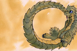 blue eyes anthro ouroboros simple background