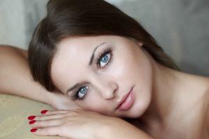 blue eyes bare shoulders looking at viewer brunette long hair hands face model makeup women portrait red nails daria konovalova