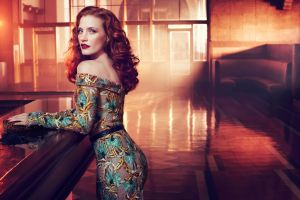 blue eyes bare shoulders redhead actress long hair open mouth model women dress bar jessica chastain