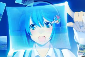 blue eyes blue hair anime girls windows 7 madobe nanami  anime