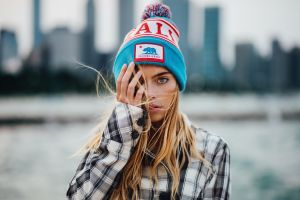 blue eyes cityscape usa looking at viewer face women outdoors woolly hat long hair city california open mouth plaid jesse herzog hat polish women
