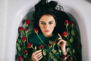 blue eyes dark hair bathtub brunette conceptual women eyeliner aurela skandaj