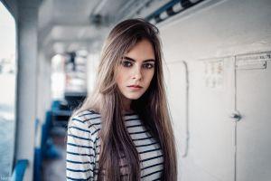 blue eyes ekaterina kuznetsova  long hair brunette maxim guselnikov portrait model women