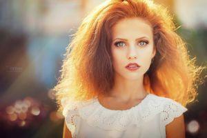 blue eyes face long hair red lipstick redhead women outdoors women depth of field