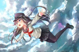blue eyes flying anime girls hat akatsuki (kancolle) miniskirt anime long hair sky open mouth blue clouds