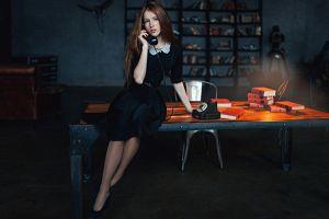blue eyes katya voronina telephone long hair georgy chernyadyev dress freckles women black dress brunette