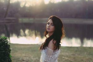 blue eyes looking over shoulder eyeliner brunette lace women outdoors white tops long hair soft aurela skandaj see-through blouse women