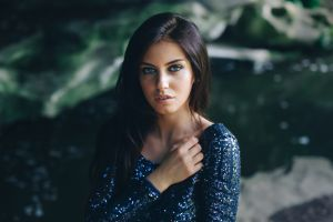blue eyes model face women brunette long hair depth of field dress aurela skandaj