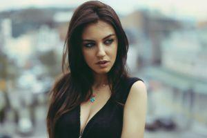 blue eyes open mouth brunette aurela skandaj necklace women black dress long hair