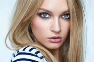 blue eyes open mouth closeup blonde women