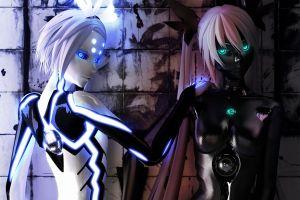 blue eyes robot cgi digital art fantasy art artwork fantasy girl render