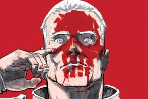 blue eyes simple background red background red skull comics