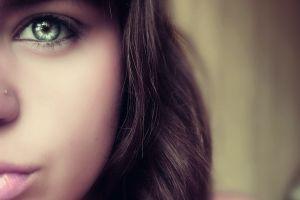 blue eyes soft face women brunette eyes